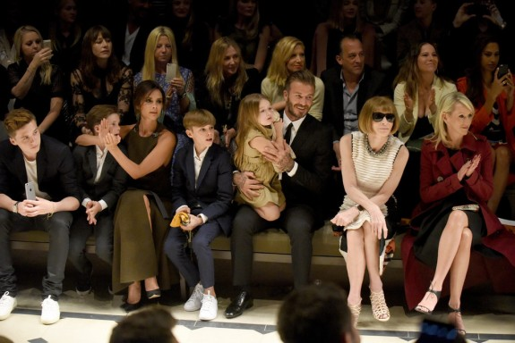 David and Victoria Beckham front row at Burberry LA