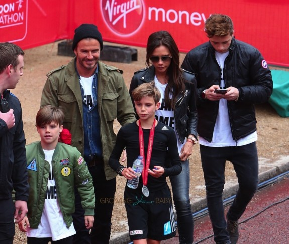 David and Victoria Beckham with sons Brooklyn and Cruz at Romeo's mini London Marathon