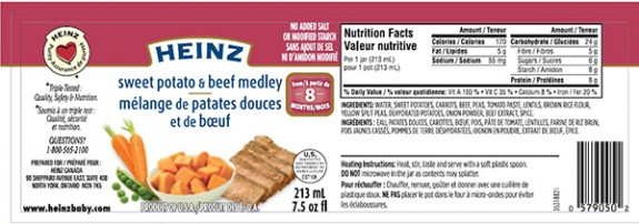 Heinz Canada Recalls Sweet Potato and Beef Medley