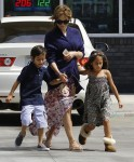 Jennifer Lopez with Kids Max and Emme Anthony heading out on Vacation
