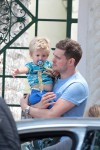 Michael Buble seen leaving a restaurant with his son Noah in Miami