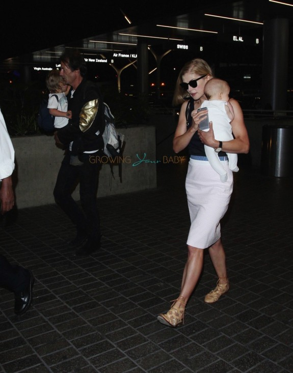 Rosamund Pike with son  Atom at LAX