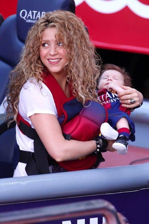 Shakira with son Sasha at FC Barcelona vs Valencia CF game in Barcelona