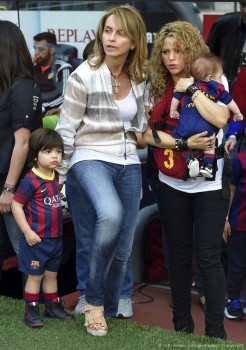 Shakira with sons Milan and Sasha at FC Barcelona vs Valencia CF game in Barcelona