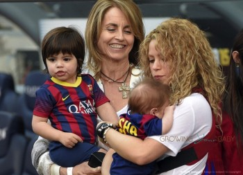 Shakira with sons Milan and Sasha at FC Barcelona vs Valencia CF game in Barcelona