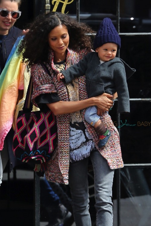 Thandie Newton is seen catching a cab with her son Booker in New York City