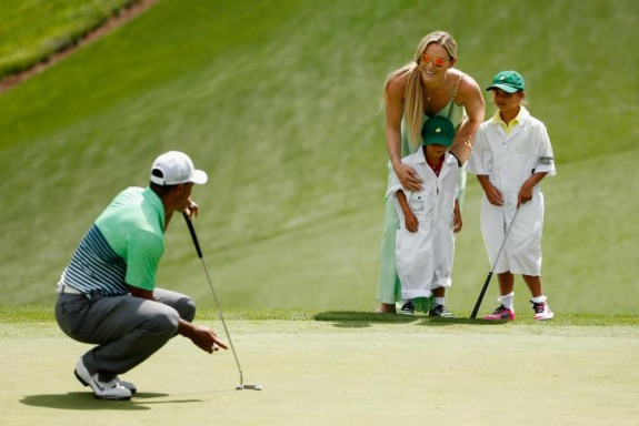 Tiger Woods with girlfriend Lindsey Vonn and kids Sam and Charlie at the master par-3 tournament