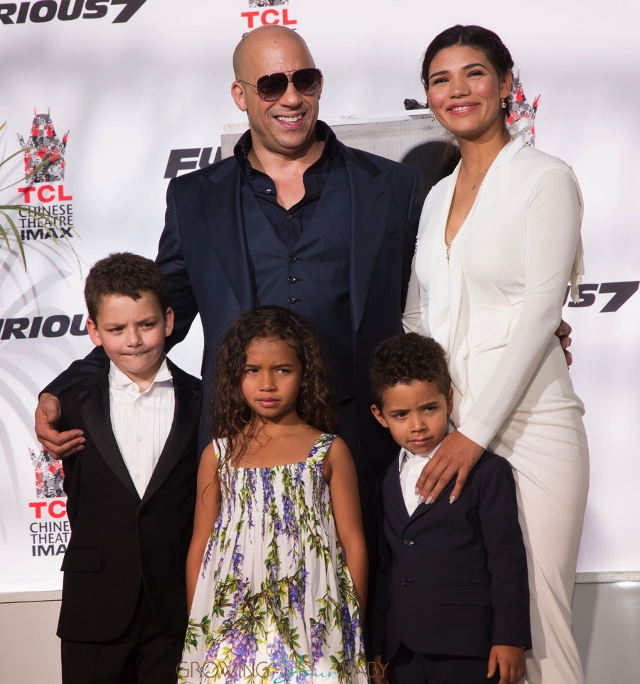Vin Diesel with wife Paloma, son Vincent, and daughter Hania at Hand print and Foot print Ceremony
