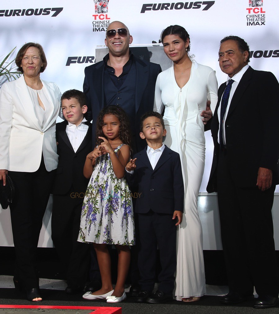 Vin diesel with wife son daughter and parents at hand print and foot print