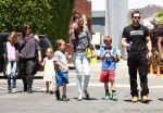 Wark Wahlberg and Rhea Durham with kids Michael, Brendon, Ella and Grace at The Safe Kids Day in Los Angeles