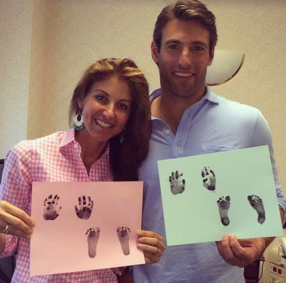 dylan lauren paul Arrouet show off their baby's footprints