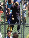 Angelina Jolie with daughter Zahara after a soccer game in LA