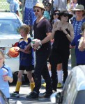 Brad Pitt and Angelina Jolie with daughters Zahara & Shiloh after a soccer game in LA