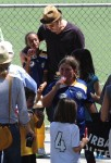 Brad Pitt with daughter Zahara after a soccer game in LA