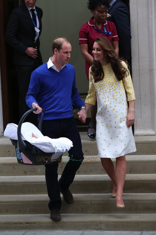 Catherine, Duchess of Cambridge and Prince William, Duke of Cambridge, leave St Marys hospital with their new baby daughter