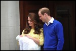 Catherine, Duchess of Cambridge and Prince William, Duke of Cambridge proudly show off their new baby daughter