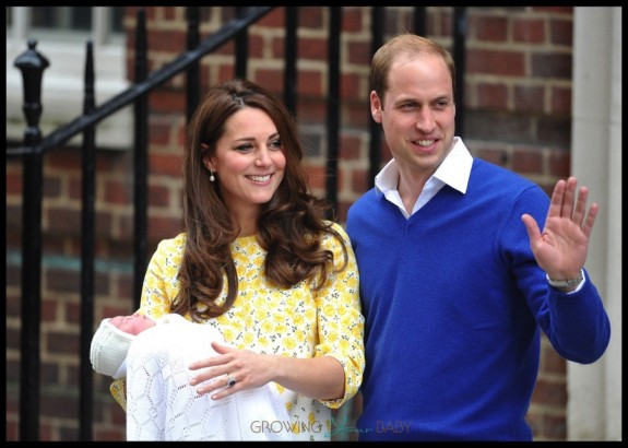 Catherine, Duchess of Cambridge and Prince William, Duke of Cambridge proudly show off their new baby daughter outside of St. Mary's hospital