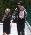 Gwen Stefani at the park with sons Kingston and Apollo