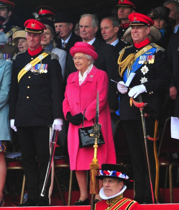 HRH The Queen and Prince Andrew attend The Royal Lancers amalgamation parade at Richmond Castle in North Yorkshire