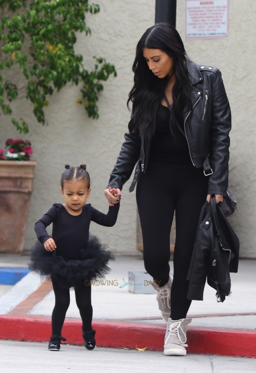 Kim Kardashian with daughter North West headed to dance class