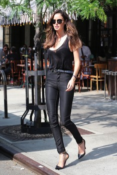 Model Nicole Trunfio  Steps Out in Manhattan With Her Son Zion