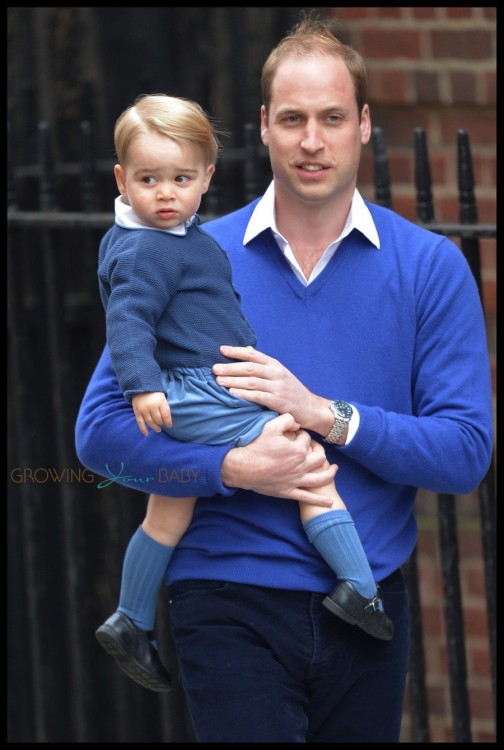 Prince William, Duke of Cambridge, arrives back at St Mary's hospital with his son Prince George