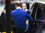 Prince William and the Duke of Cambridge arrive back at St Mary's hospital with his son Prince George