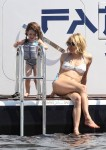 Sienna Miller on a yacht in Cannes with daughter Marlow