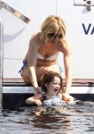 Sienna Miller on a yacht in Cannes with daughter Marlow Sturridge