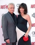 A Very pregnant Evangeline Lilly with Michael Douglas at Antman Premiere