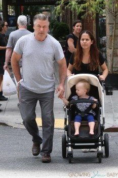 ALec Baldwin steps out with daughter Carmen just hours after becoming a dad again