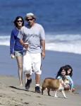Adam Sandler a the beach in LA with Wife Jackie and daughters Sunny and Sadie