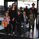 Angelina Jolie and Brad Pitt at LAX with their kids Maddox, Pax, Zahara, Shiloh, Vivienne and Knox