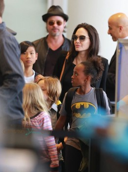Angelina Jolie and Brad Pitt at LAX with their son Pax