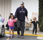 Ben Affleck at the market with kids Sam, Seraphina and violet