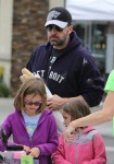 Ben Affleck at the market with kids Seraphina and violet