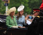 Catherine Duchess of Cambridge rides with Camila Parker Bowles to the trooping of the color ceremony