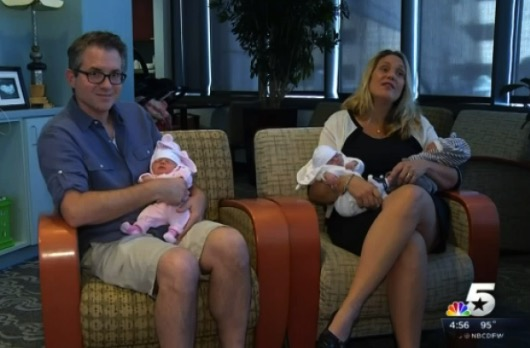 Gretchen and Andrew Whitehead with their triplets