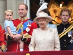 HRH the Queen with Prince William, Kate Middleton and Prince George