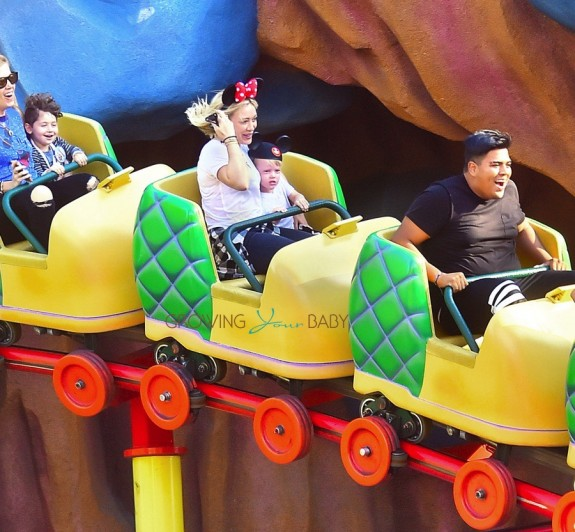 Hilary Duff rides the coasters at Disneyland with son Luca