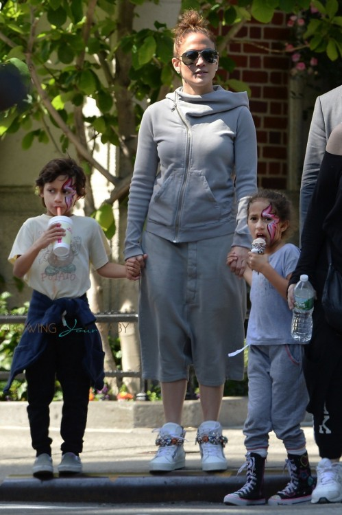 Jennifer Lopez with kids Max and Emme Anthony at a street festival in NYC