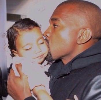 Kayne West Kisses Daughter North West