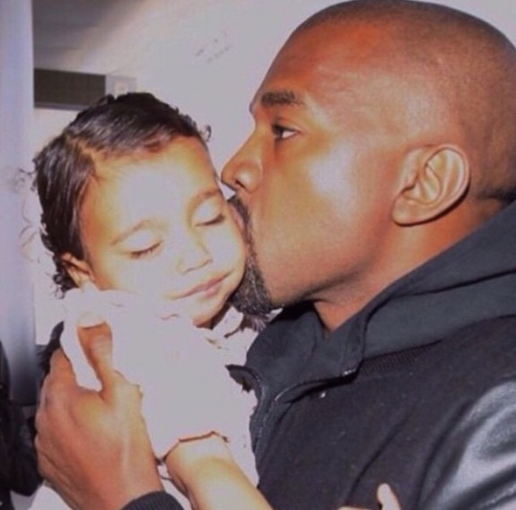 Kayne West Kisses Daughter North West