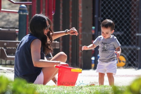 Lauren Silverman with son Eric Cowell at the park in Beverly Hills