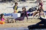 Mariah Carey at the beach with twins Moroccan & Monroe in Sardinia