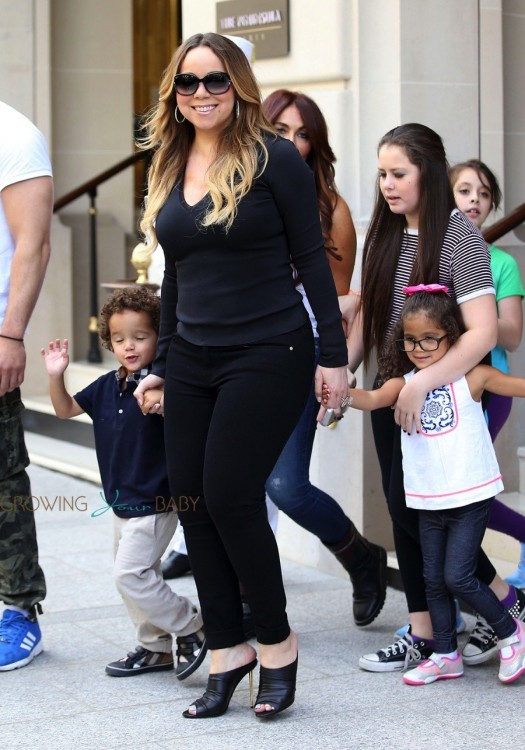 Mariah Carey exits her Paris Hotel with twins Moroccan & Monroe Cannon