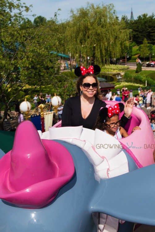 Mariah Carey with her daughter Monroe Cannon at Disneyland Paris