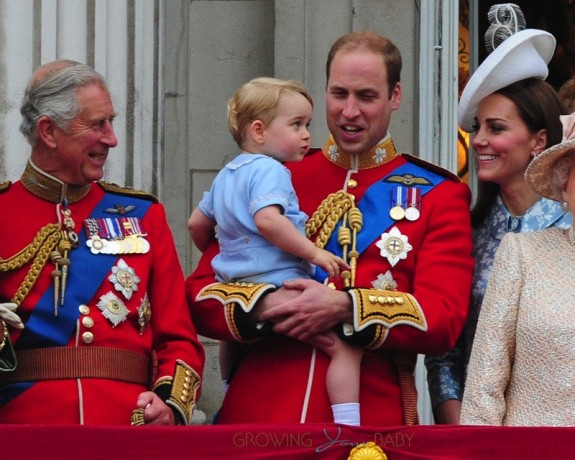 Prince Charles and Prince William with son Prince George Trooping the Color 2015