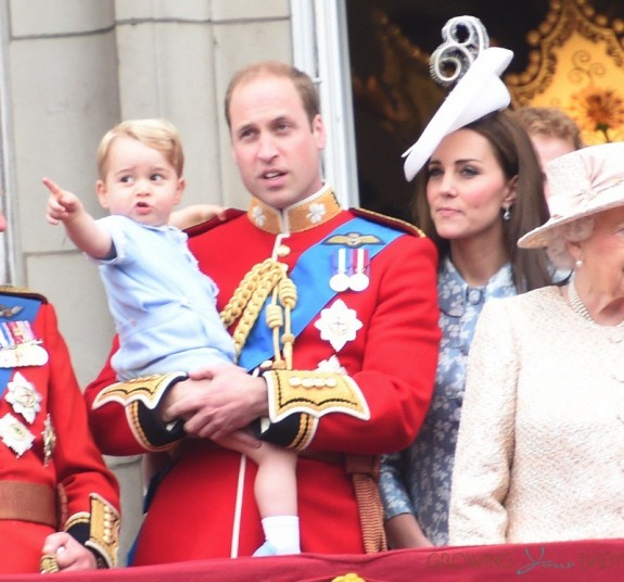 Prince william, Kate Middleton  and Prince George at Trooping the color ceremony