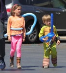 Samuel and Seraphina Affleck at the Farmer's Market